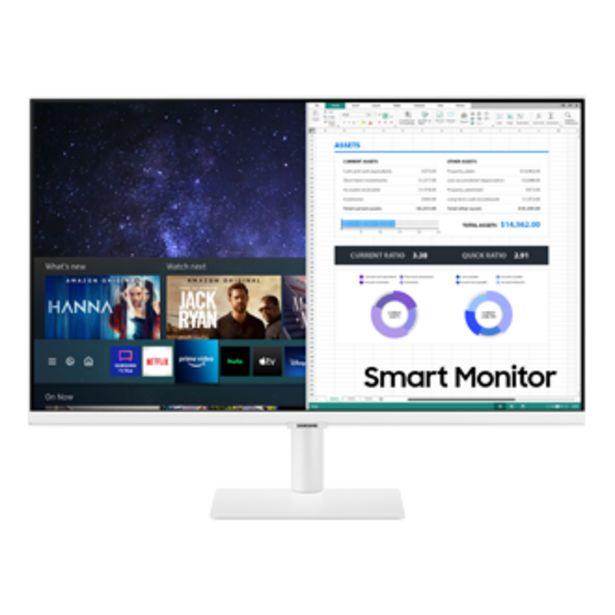 """27"""" M5 FHD Smart Monitor & Streaming TV in White Color Design seharga Rp 4599000"""